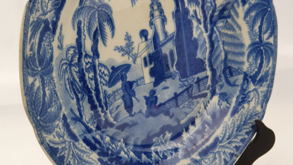 Antique English Pottery Early Davenport Chinoiserie Ruins B&W Plate C.1800