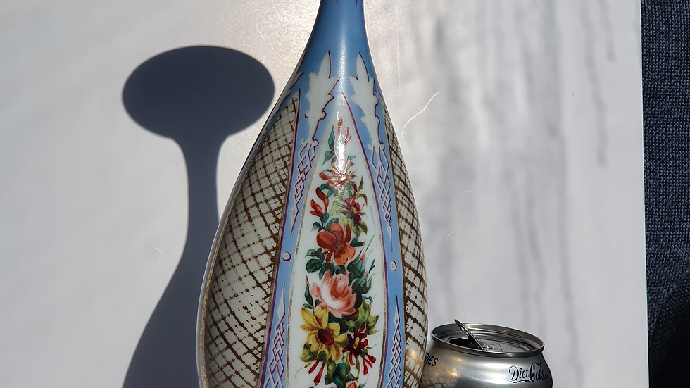 Tall Late 19thc Bohemian Glass Vase with painted Panel Decoration