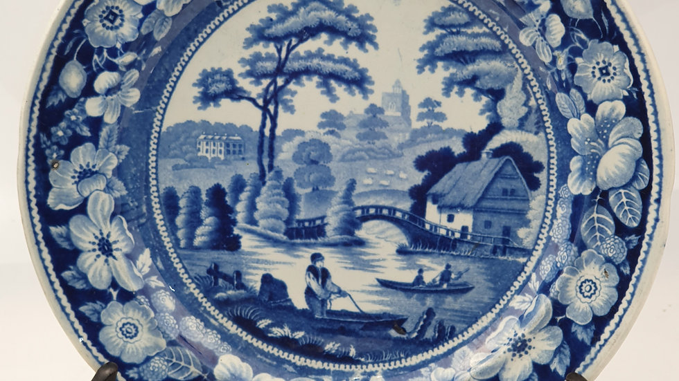 """Antique 19thc Blue and White Transfer """"Wild Rose"""" Pattern Pottery Plate"""