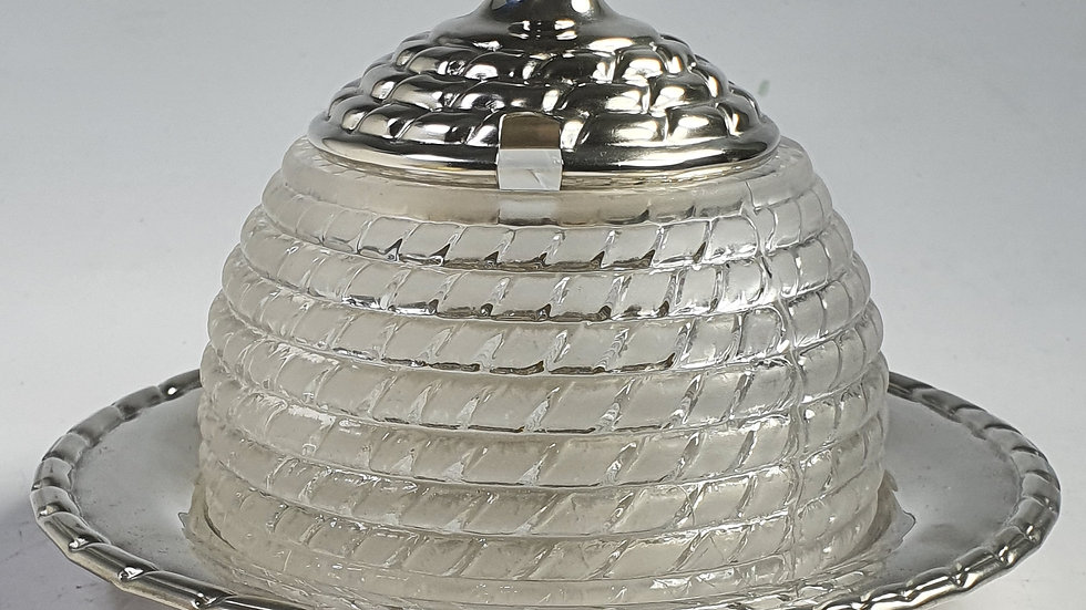 FINE QUALITY FROSTED GLASS & SILVER PLATED HONEY POT C1920