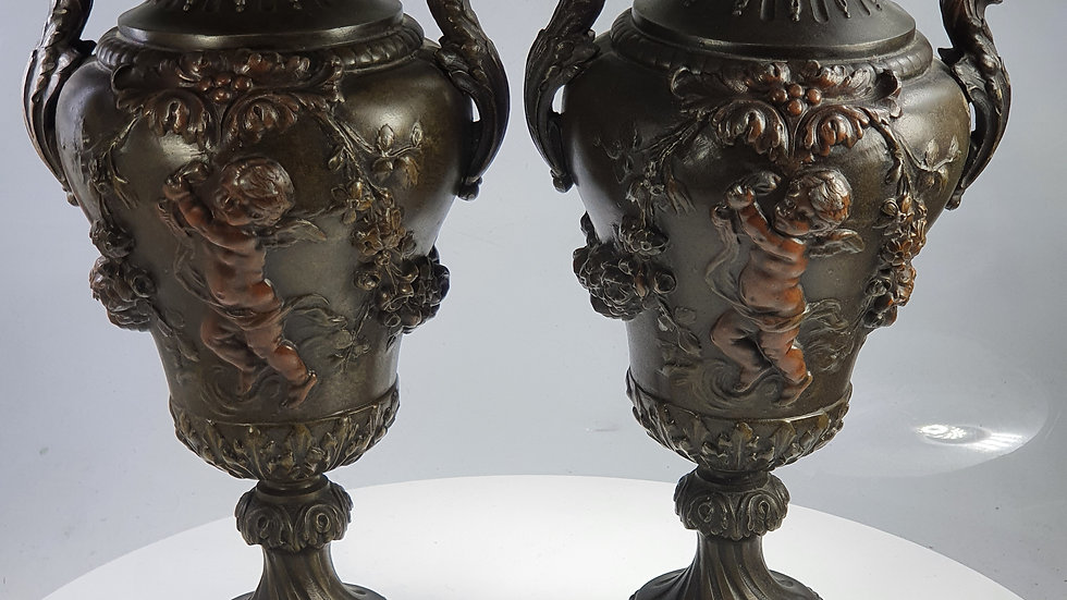 Stunning Large late 19thc Pair of Painted Spelter Figural Urn Vases