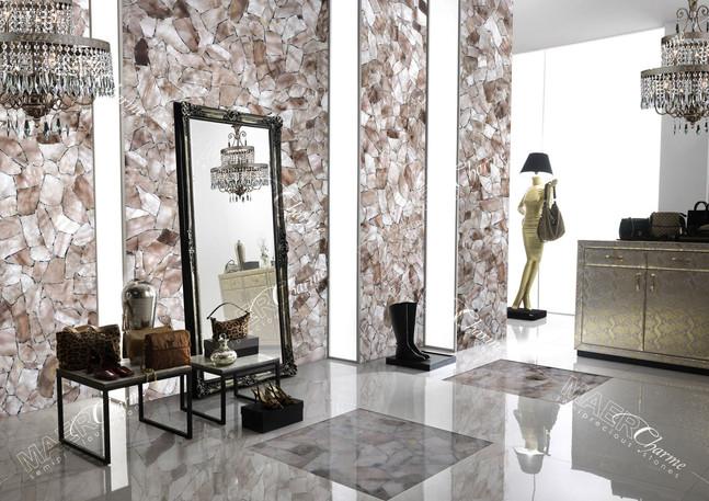 quartz smoky mediu with silver decorativ