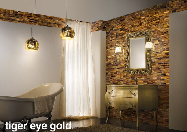 Tiger Eye Gold bathroom decorative wall.