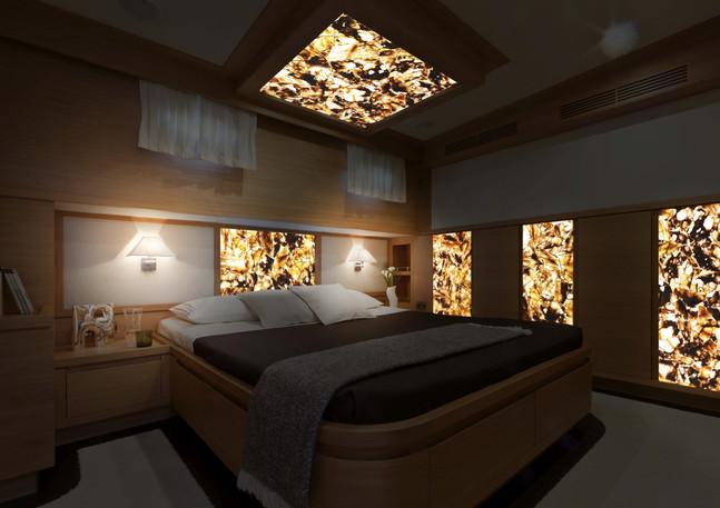 quartz chocolate backlit interior yacht.
