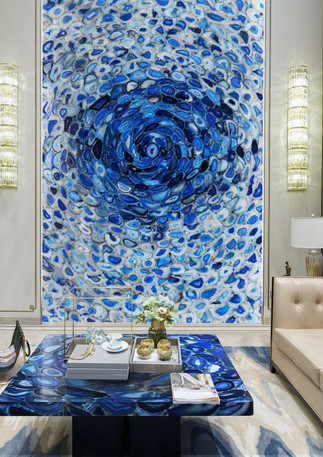 agate blue tornado wall covering and cof