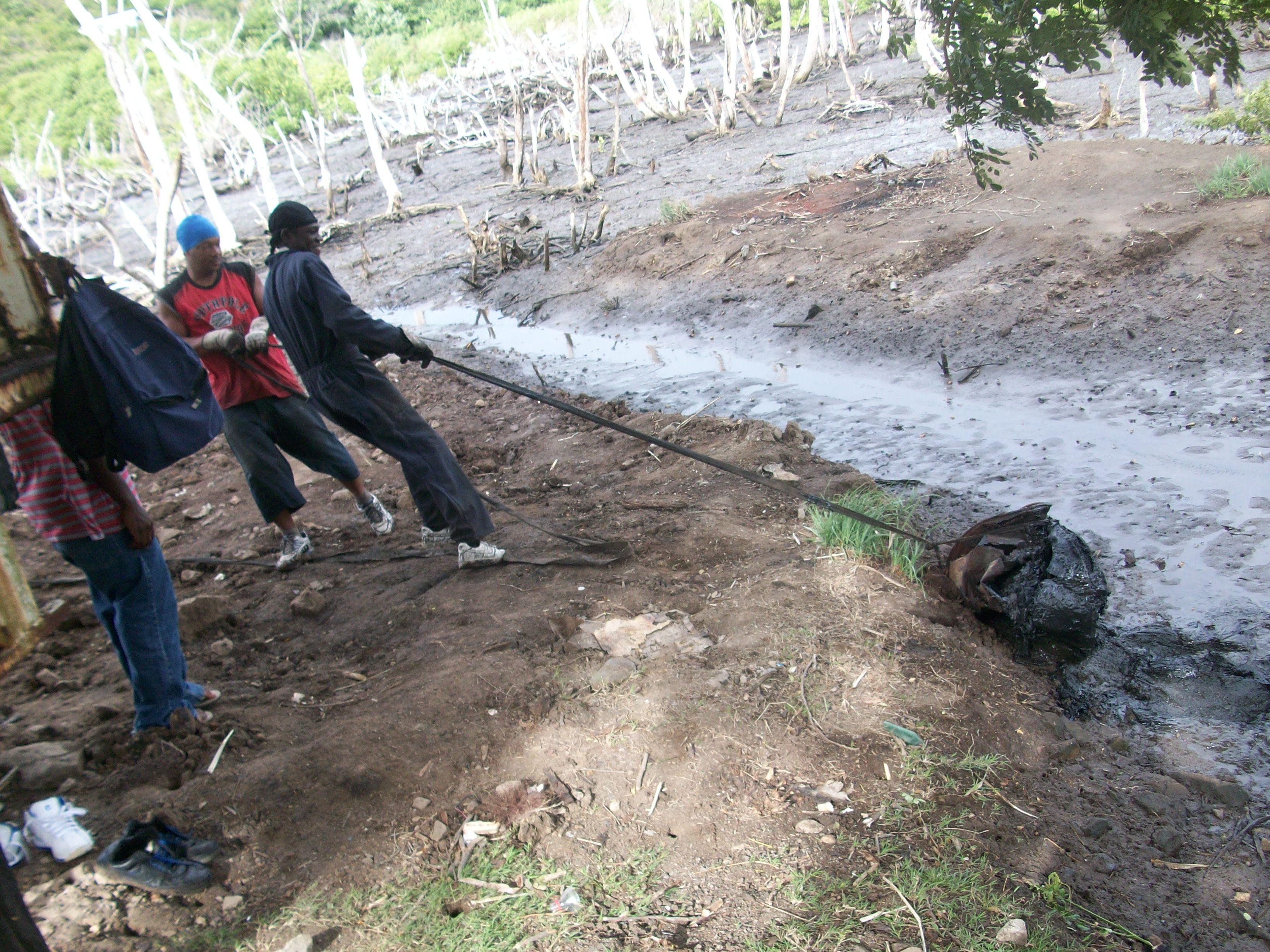 Resident removing garbage