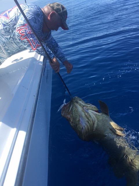 Jim caught this beautiful Goliath Grouper on a 4oz ultra minnow, the same our T.A.S.F. jig,,,stop by to pick one up for yourself and for a worthy cause!!!