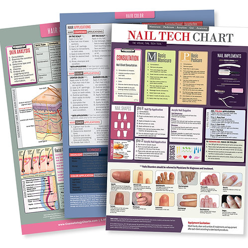 Cosmetology Poster Bundle With 1-Hair Color, 1-Nail Tech & 1-Skin Poster