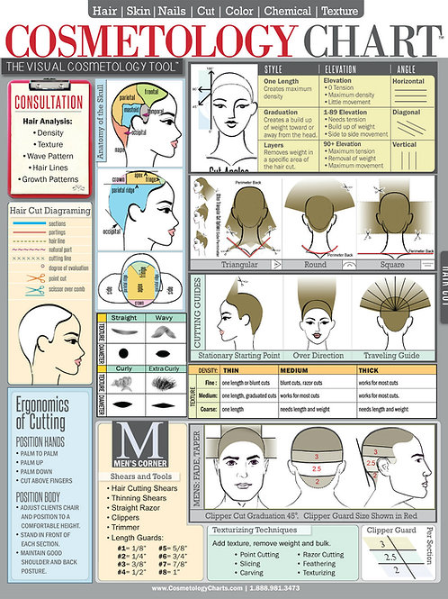 Cosmetology Stylists Cheat Sheet Laminated Spill-Proof & Tear Proof 6-Pages