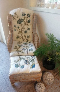 Crewel embroidery chair