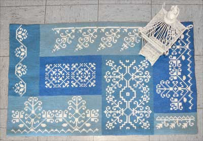 embroidered rug, cross stitch rug, Sudan wool