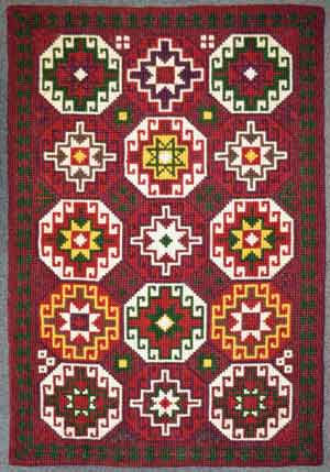 cross stitch embroidered rug for christmas