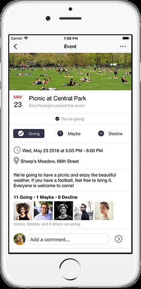 single event screenshot of cohort app