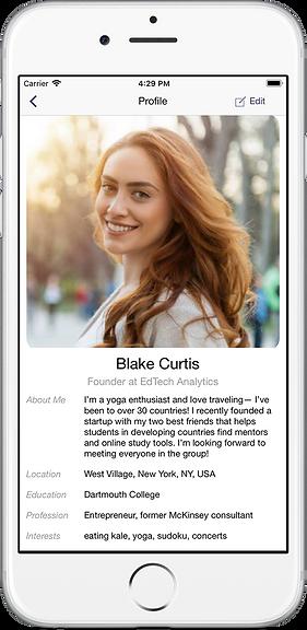 profile screenshot of cohort app