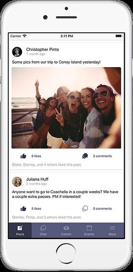 post screenshot of cohort app