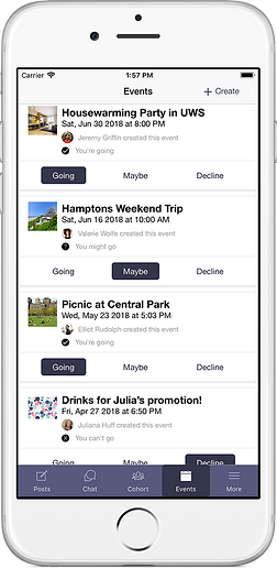 events interface of cohort app