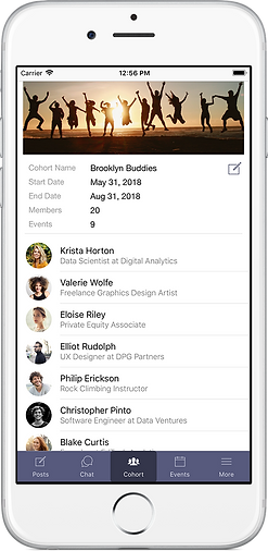 user interface of cohort app