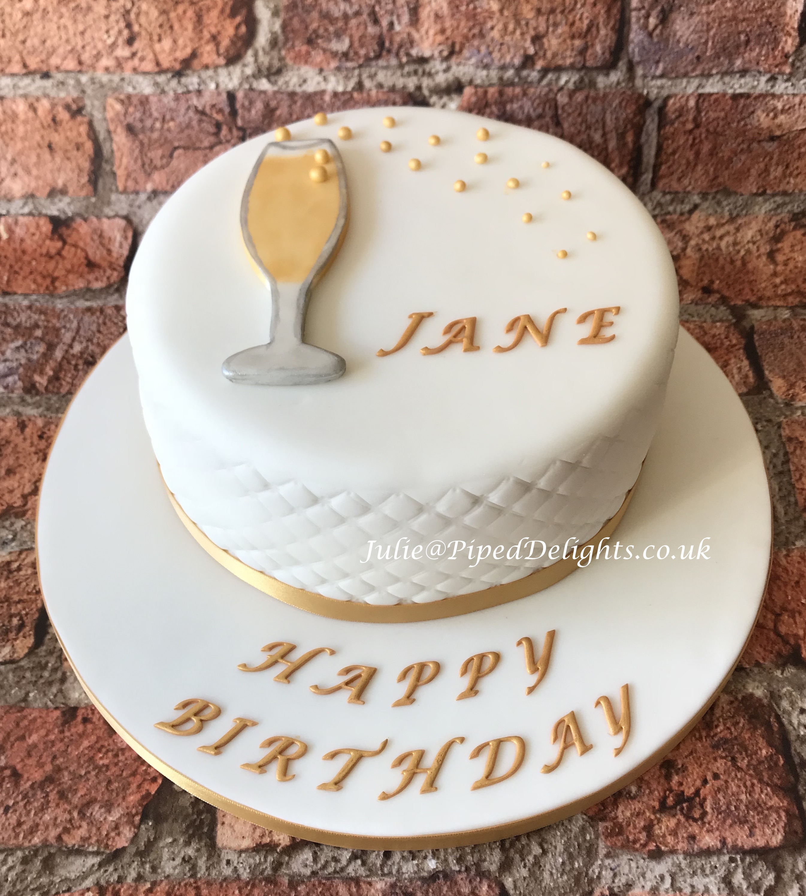 70 Year Old Woman Birthday Australia Champagne Glass Celebration Cake