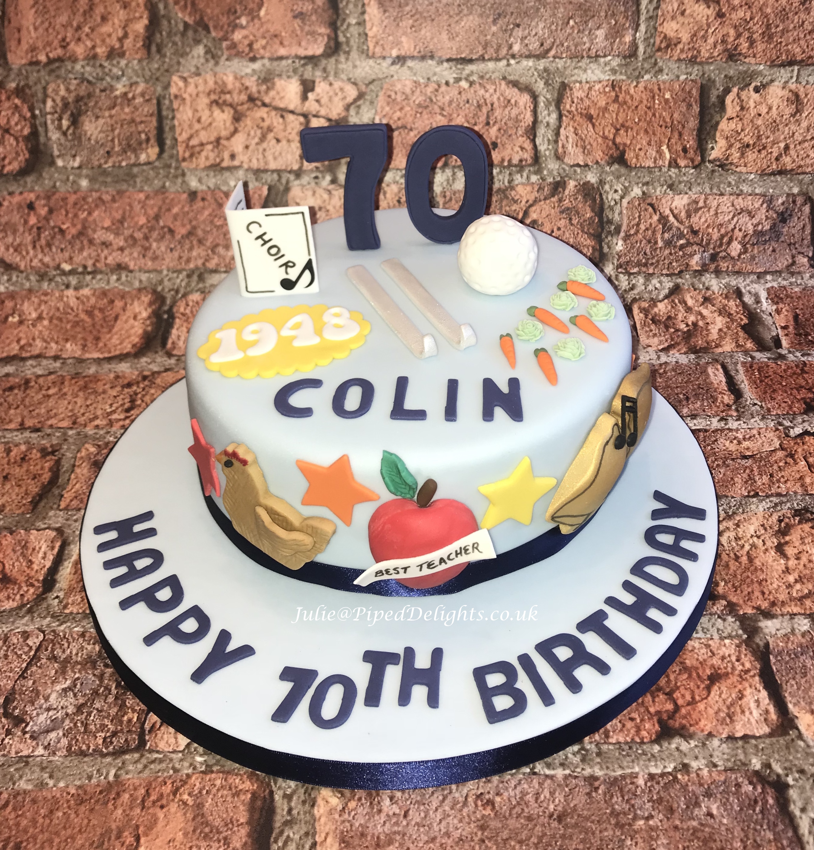 Favourite Things Cake For A Chicken Keeping Ex Teacher Bell Ringing Choir Singing Skiing Golfing And Gardening 70 Year Old