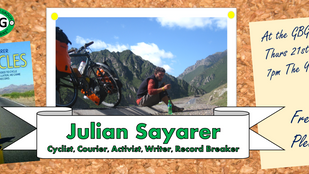 GBG Presents Julian Sayarer, Inspirational, Record Breaking Cyclist & Author at AGM 21st May 201