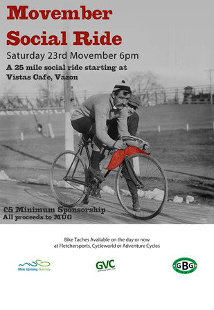 Movember Social Ride (in aid of MUG/Movember) Sat 23rd Nov, 6pm