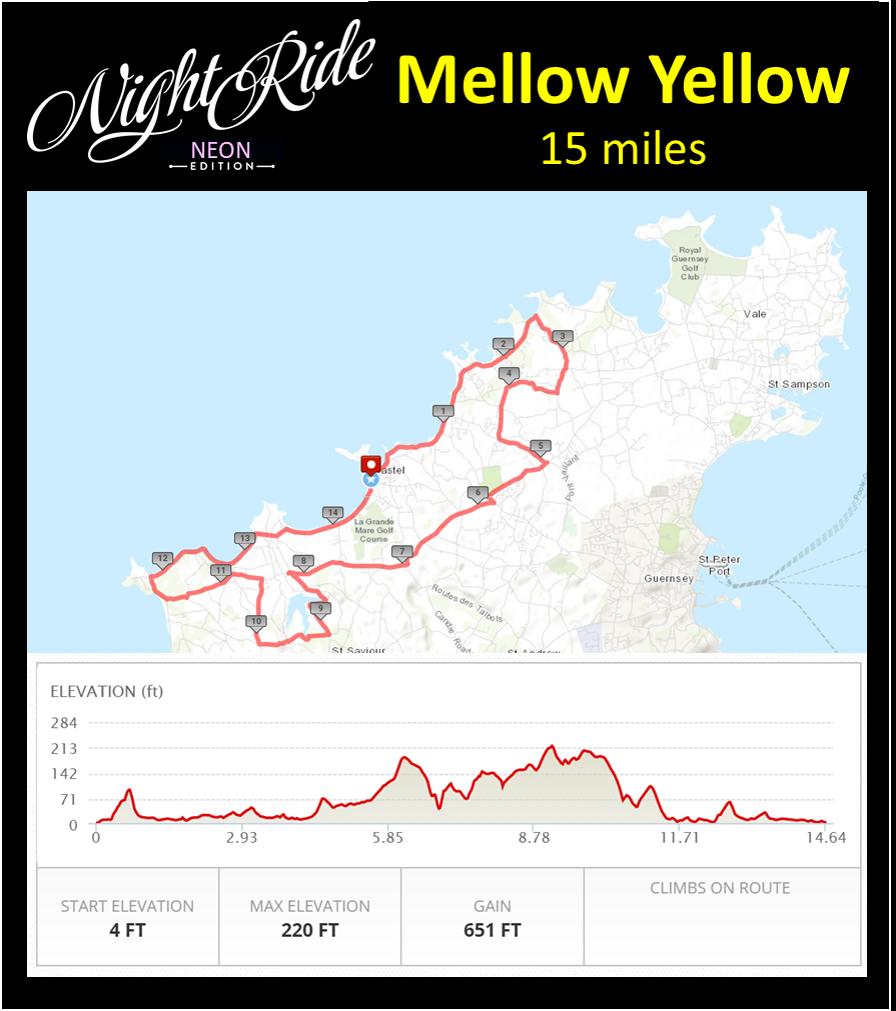 Mellow Yellow Map 15 miles