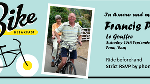 Francis Paul, Memorial Bike Breakfast. Sat 20th Sept, 10am