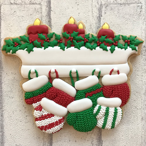 Christmas Mantel with Hanging Mittens