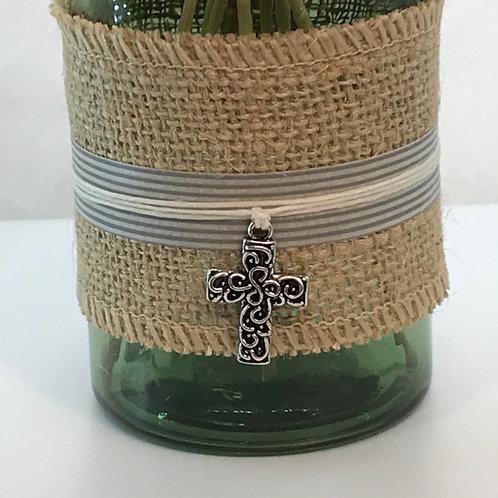 Reed Diffuser - Green Glass, Burlap, Cross
