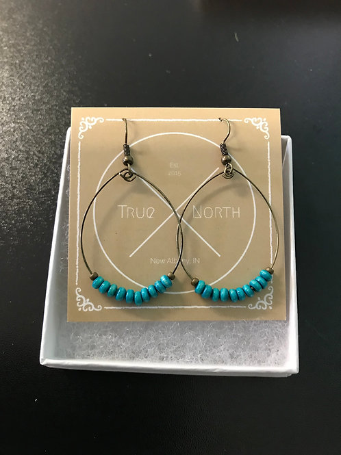 Teal-Dyed Wood Hoop Earrings