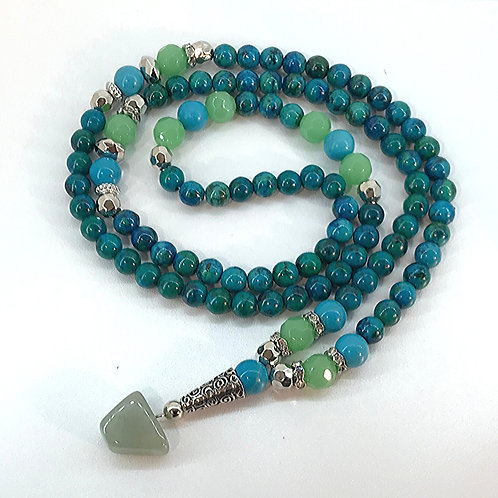 Mala Bead Necklace: Turquoise & Green Colored Glass Beads