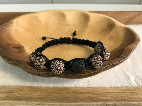 Lava & Flowers Bead Bracelet