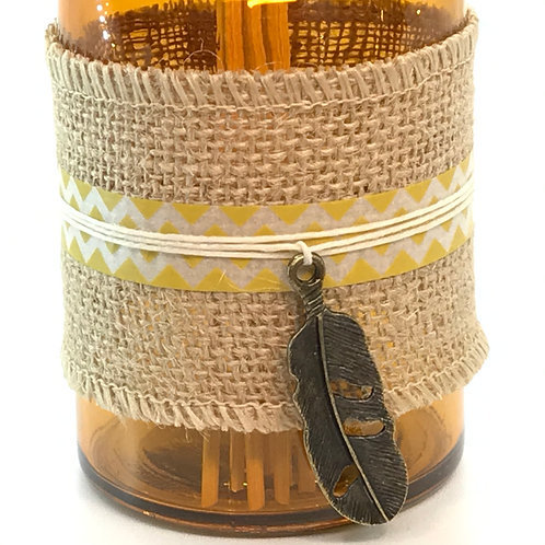 Reed Diffuser - Yellow Glass, Burlap, Dark Feather