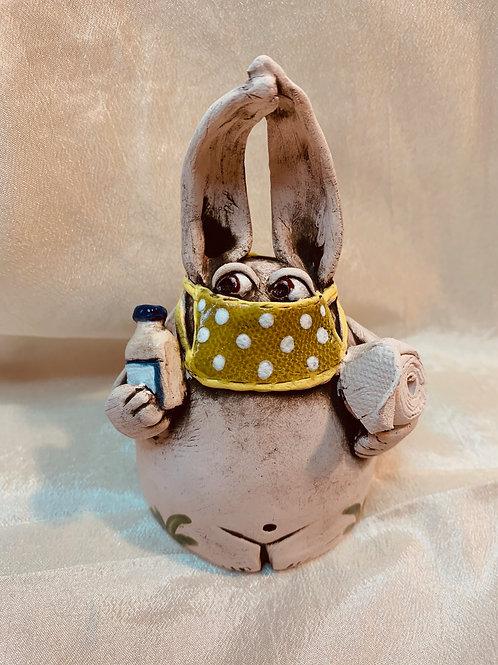 """Quarantine Bunny | #29"" - Ceramic Ocarina/Whistle"