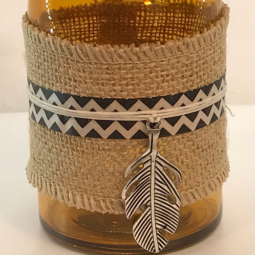 Reed Diffuser - Yellow Glass, Burlap, Shiny Feather