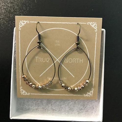 Tiny Champagne Czech Glass Hoop Earrings