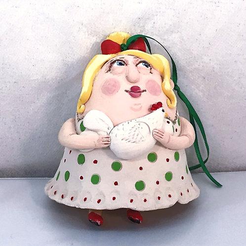 """""""Chicken Lady"""" - Ceramic Bell"""