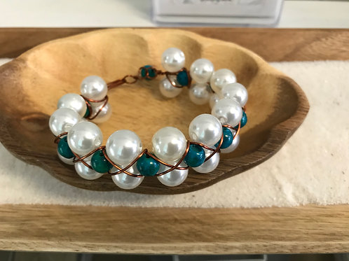 Off White & Turquoise Glass & Acrylic Bead Wire-Wrapped Bracelet