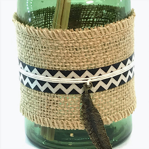 Reed Diffuser - Green Glass, Burlap, Feather