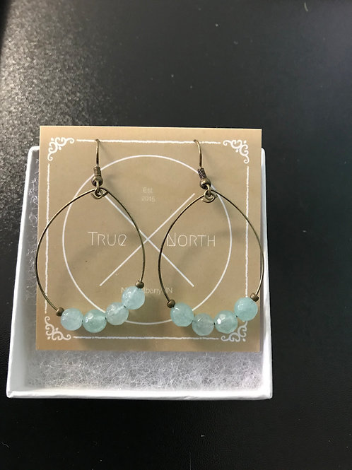 Faceted Aqua Quartzite Hoop Earrings