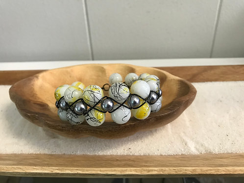 Yellow/White/Black Glass Bead Wire-Wrapped Bracelet