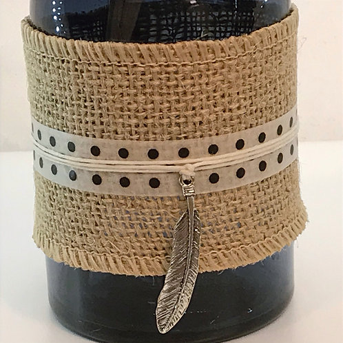 Reed Diffuser - Blue Glass, Burlap, Long Feather