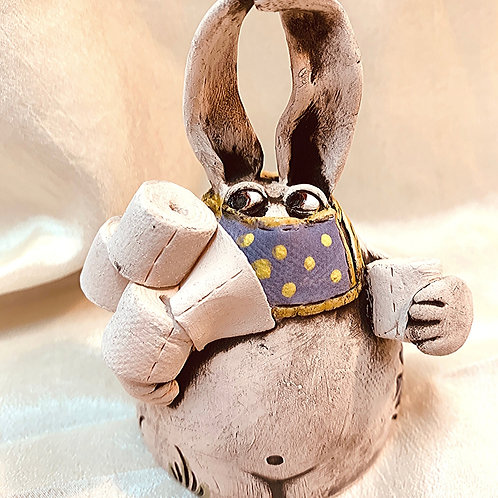 """Quarantine Bunny | #31"" - Ceramic Ocarina/Whistle"