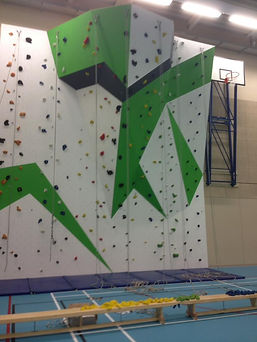 School climbing wall routesetting