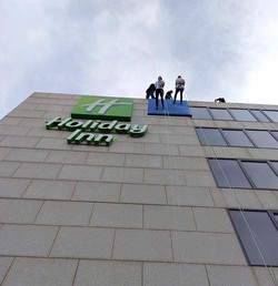 Participants abseiling for charity