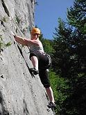 Sunny outdoor rock climbing