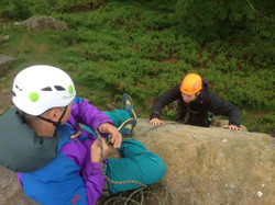 Belaying on learn to trad climb