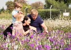 Family in Flower Garden