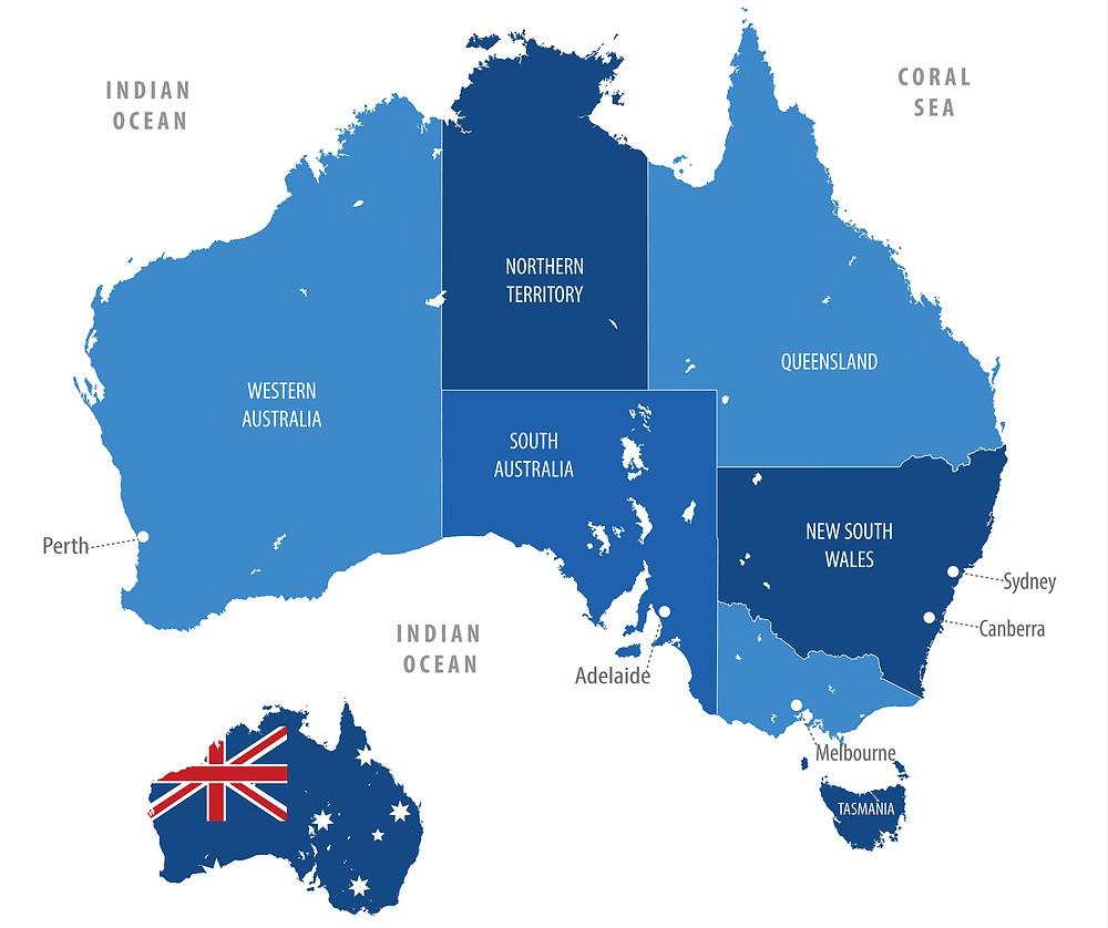 Karte Australien, Map Western Australia, Westaustralien
