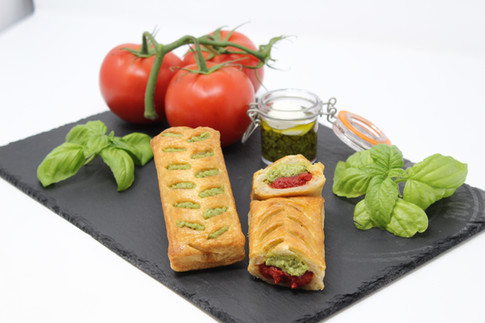Puff slice with pesto, tomato and ricotta cheese